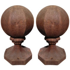 Pair of Unusual English Octagonal Cast Iron Finials