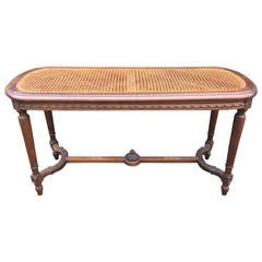 French Louis XVI Style Caned Walnut Bench