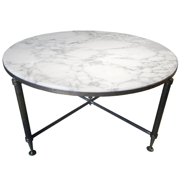 Marble Coffee Table Heavy: Mid-Century French Marble Coffee Table At 1stdibs