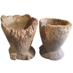 Ancient French Wooden Vessels or Mortars