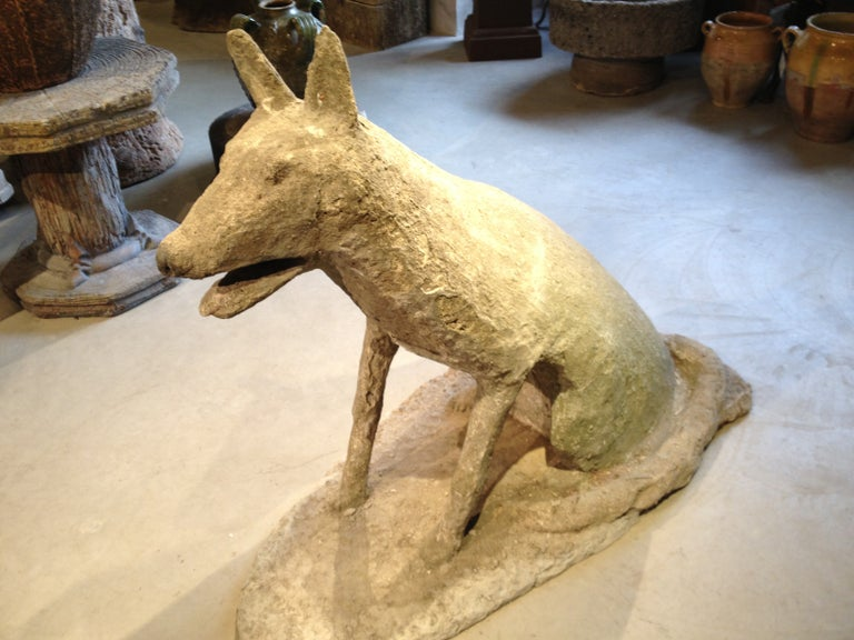 """French Cast Stone Life-Size """"Tin-Tin"""" Dog Sculpture For Sale"""