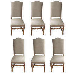 Set of Six Beech Louis XIII-Style Os de Mouton Dining Chairs