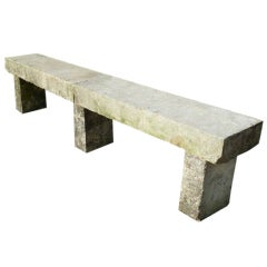 Long 19th C. French Limestone Bench