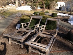 Pair of French Deco Teak Chaises