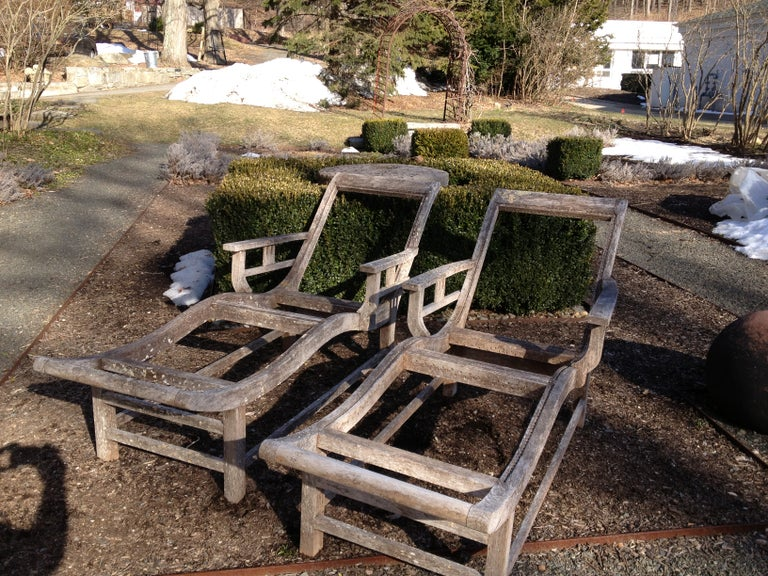 Pair of French Deco Teak Chaises For Sale