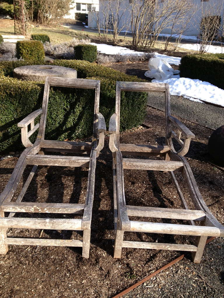 Pair of French Deco Teak Chaises For Sale 2
