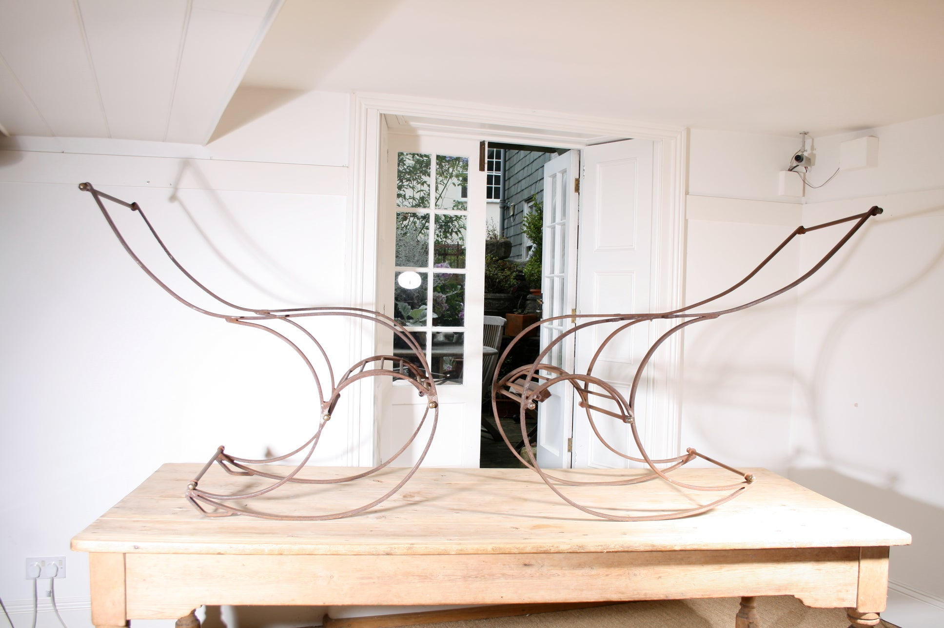 His and Hers 19th Century Wrought Iron Winfield Rocking Chairs