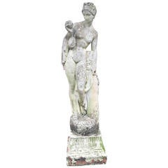 English Cast Stone Statue of Aphrodite Holding a Quince