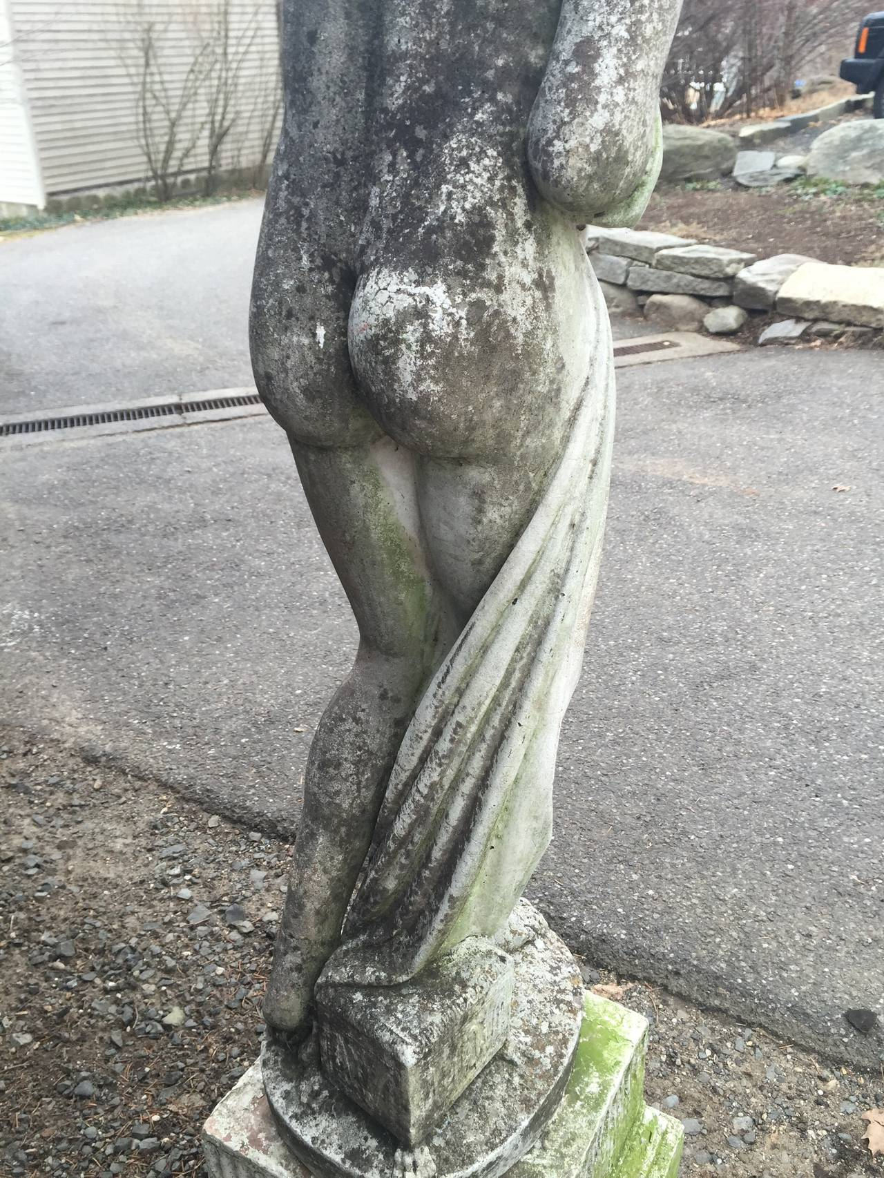 English Cast Stone Statue Of Aphrodite Holding A Quince At