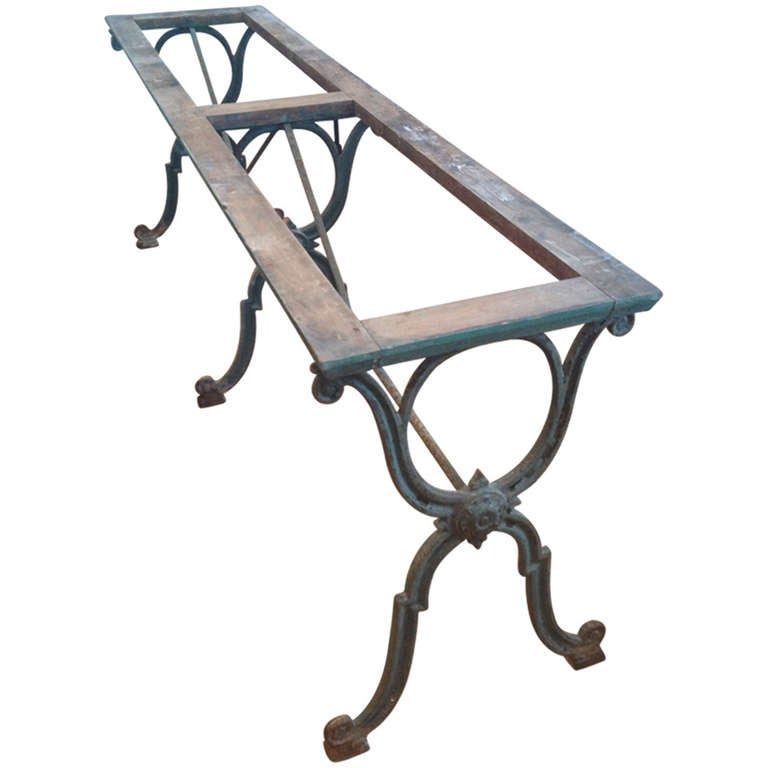 Fabulous long french cast iron dining table at 1stdibs for Cast iron dining table