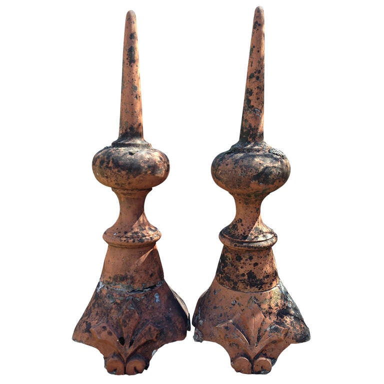 Pair of Tall French Terracotta Finials