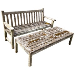 Lichen-Encrusted Teak Bench and Coffee Table
