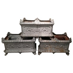 Three Cast Iron French Jardinieres
