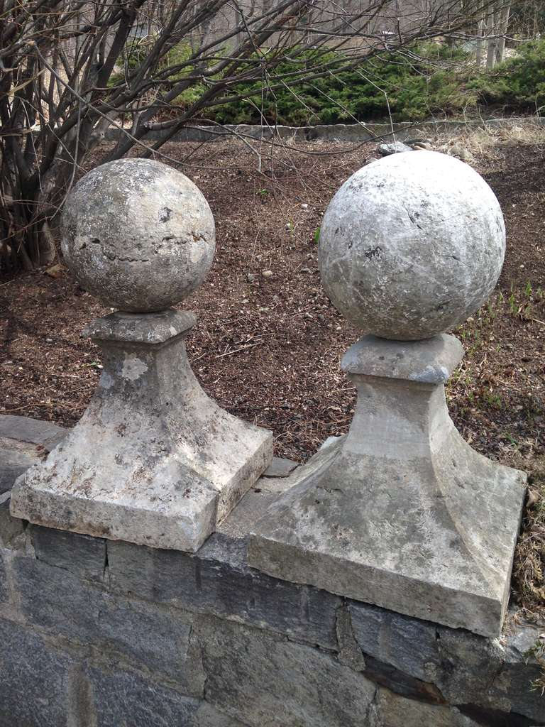 Sensational pair of large carved stone gate pier finials