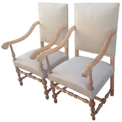 Elegant Pair of Large Beech Louis XIV Style Fauteuils or Throne Chairs