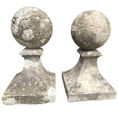 Pair of Estate-Size 18th Century French Limestone Gate Pier Finials
