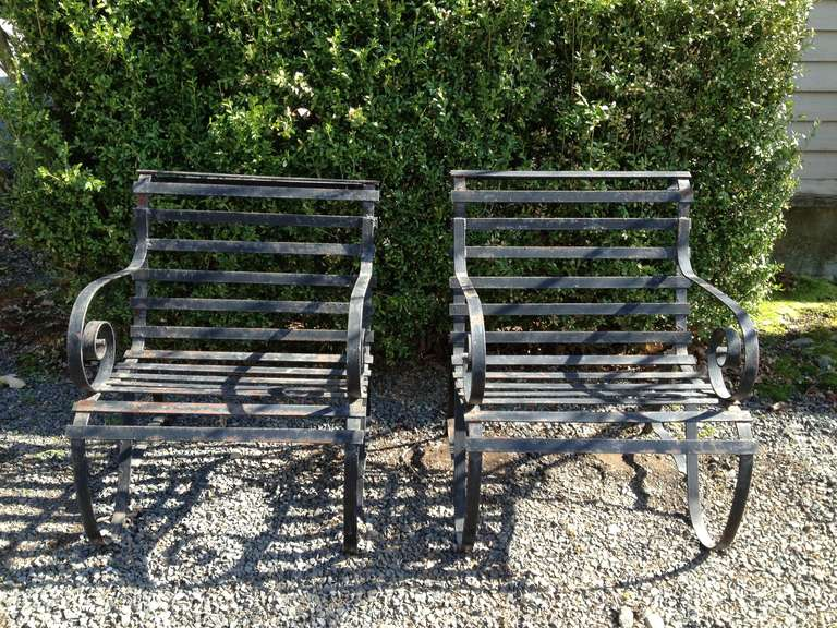 pair of heavy wrought iron garden lounge chairs 2 at 1stdibs
