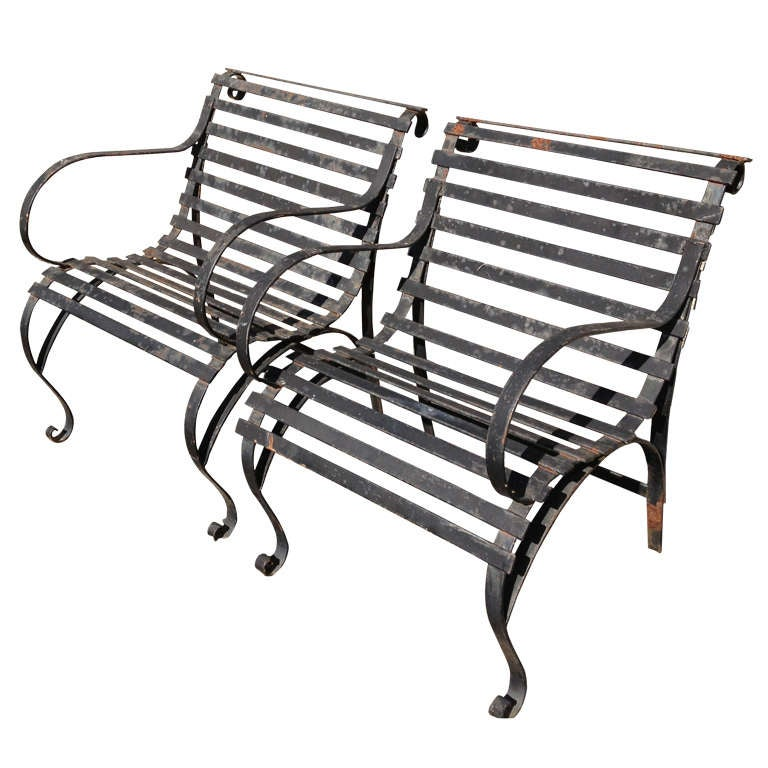 Pair of Heavy Wrought Iron Garden Lounge Chairs 1 at 1stdibs