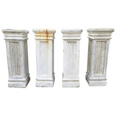 Two Pairs of Tall Fluted Cast Stone Pedestals