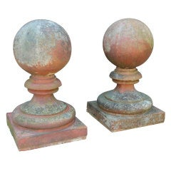 Large Pair of Edwardian Terracotta Gate Pier Finials