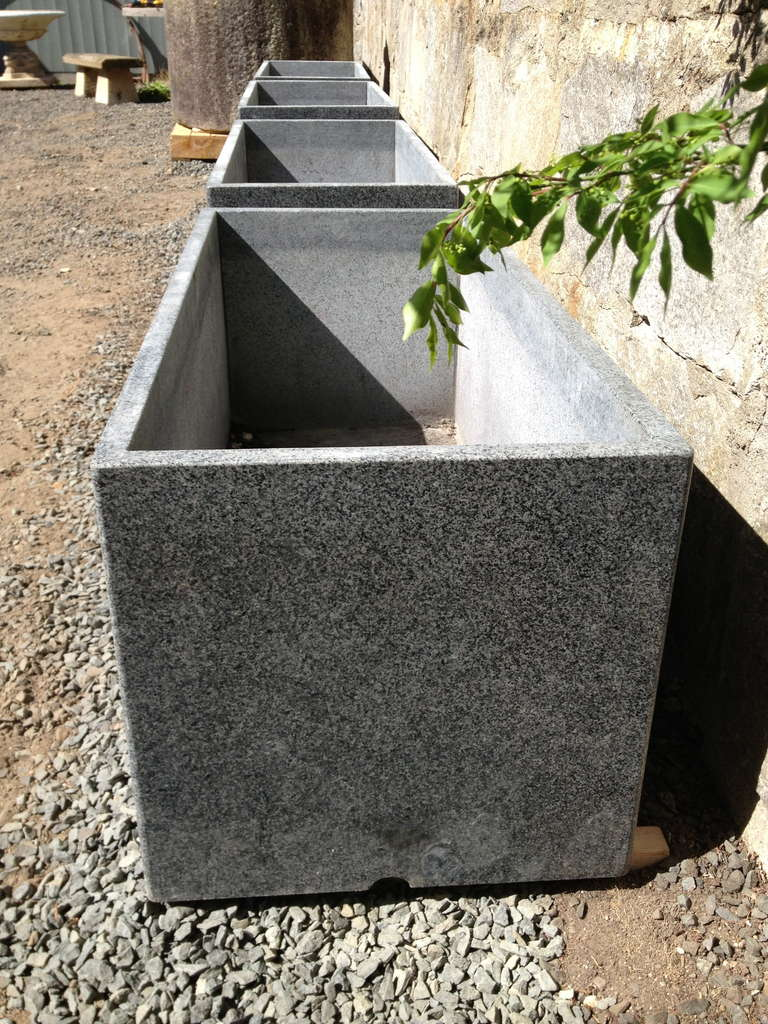 Set Of Four Large Contemporary Granite Planters At 1stdibs