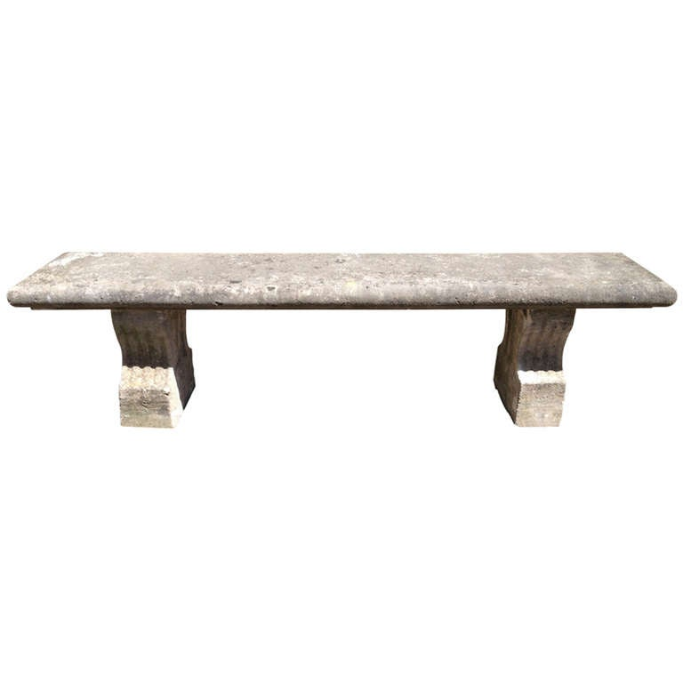 19th Century, French Limestone Bench 1