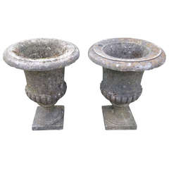 Stunning Pair of English Cast Stone Camapana Urns