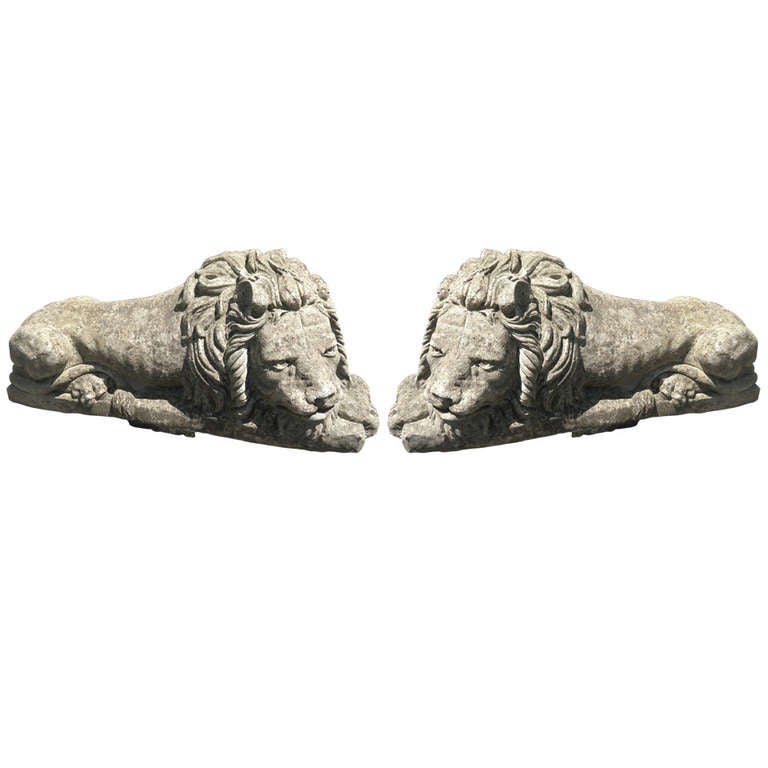 Gorgeous Pair of Large English Stone Lions
