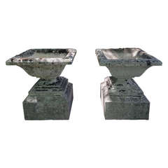 Pair of Magnificent French Stone Urns on Plinths