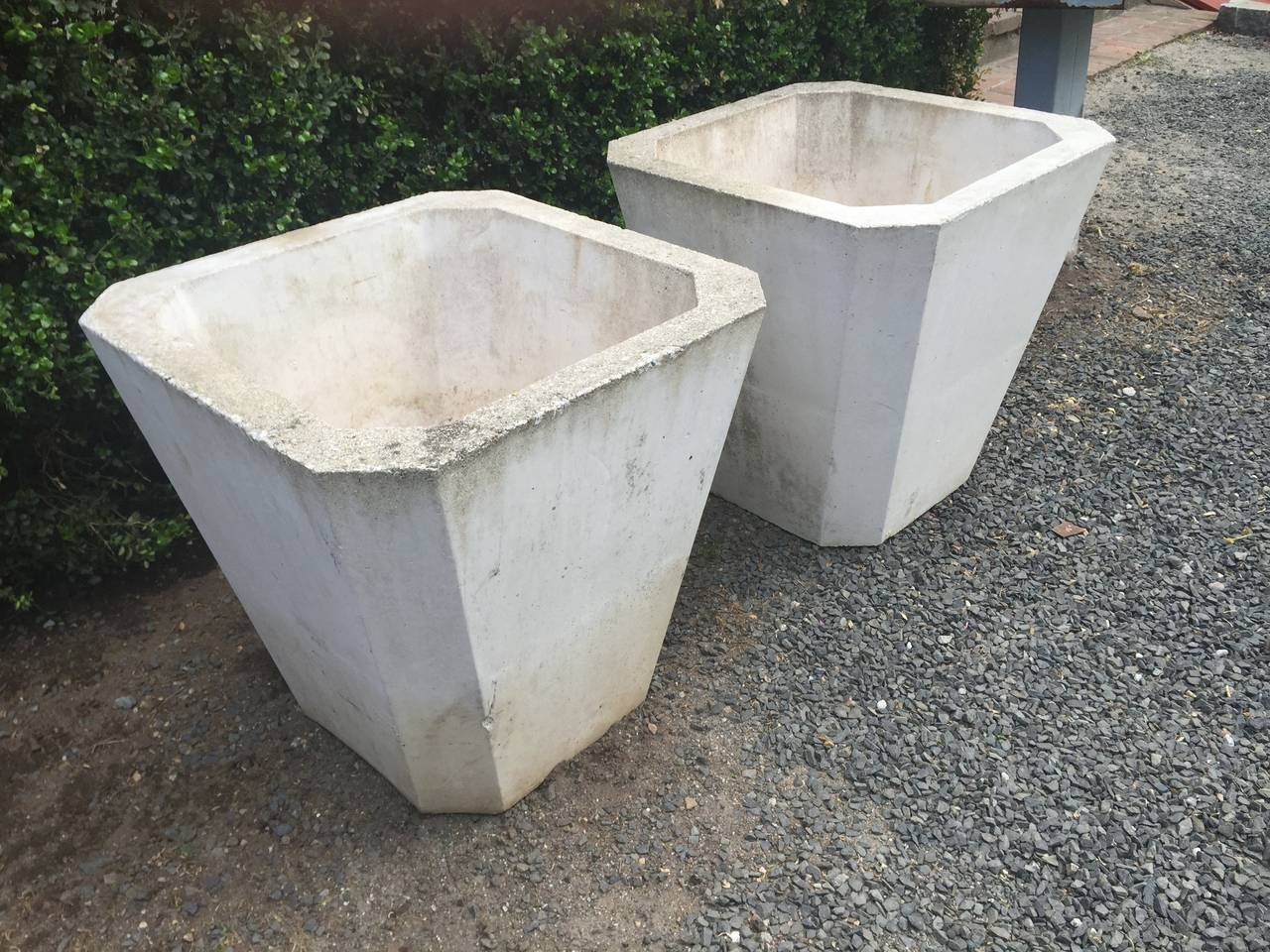 Pair Of Mid 20th Century Modern Large Canted Planters At