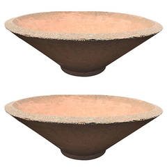 Pair of Enormous Mid-Century Modern Industrial Cast Stone Planters