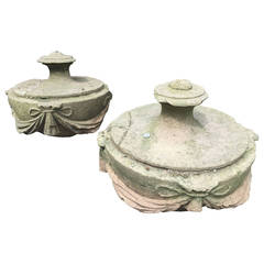 Pair of 17th Century Stone Urn Top Finials