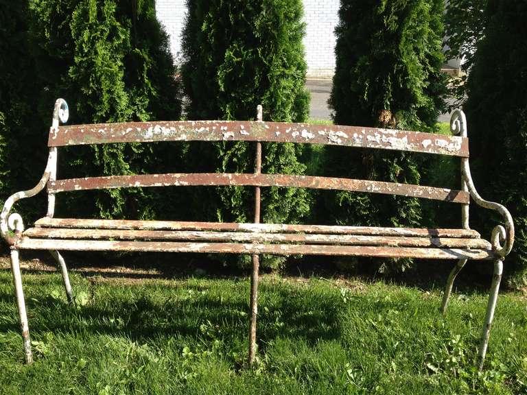 Rare 19th Century Scottish Wrought Iron Garden Bench 3