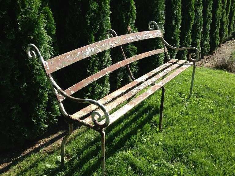 Rare 19th Century Scottish Wrought Iron Garden Bench In Excellent Condition For Sale In Woodbury, CT