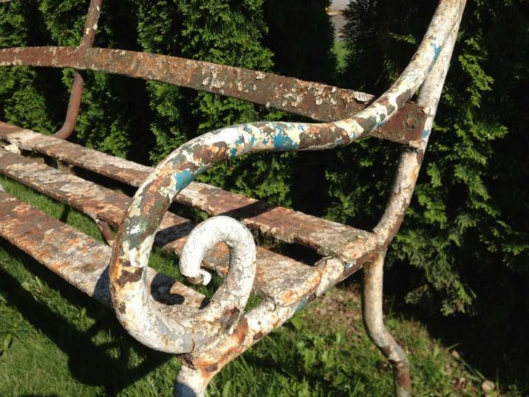 Rare 19th Century Scottish Wrought Iron Garden Bench For Sale 1