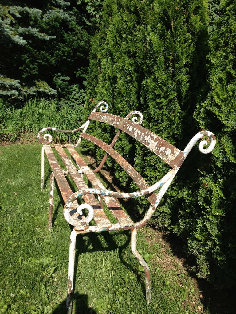 Rare 19th Century Scottish Wrought Iron Garden Bench For Sale 2