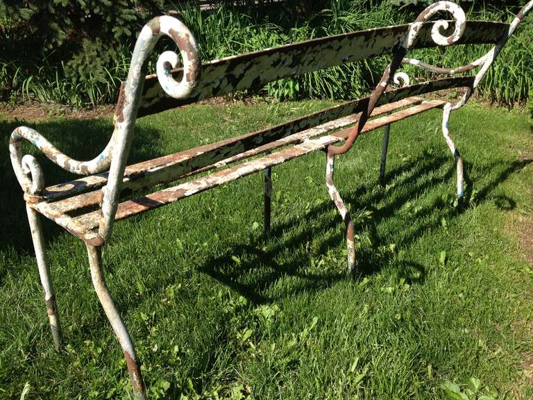 Rare 19th Century Scottish Wrought Iron Garden Bench For Sale 3