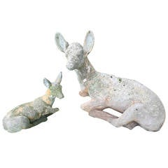 Cast Stone Figures of Recumbent Doe and Fawn