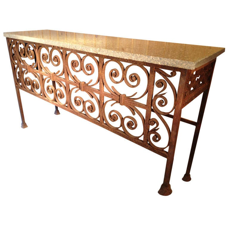 Iron Console Table : Elegant 19th Century Iron Console Table For Sale at 1stdibs