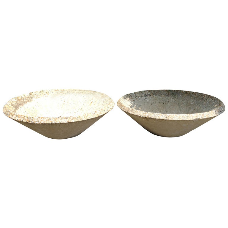 Pair of Large English Mid-Century Modern Cast Stone Bowl Planters  For Sale