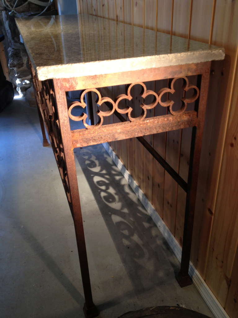 French Elegant 19th Century Iron Console Table For Sale