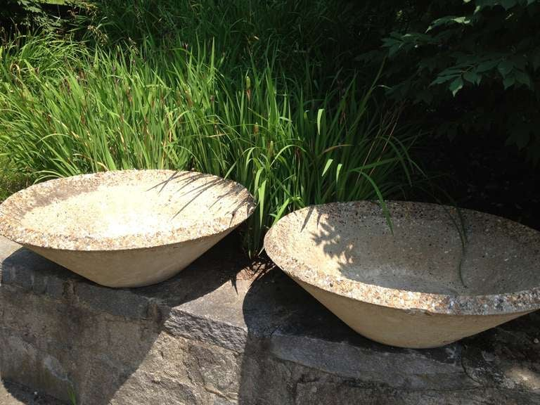 Very Pair of Large Cast Stone Bowl Planters, 1960s For Sale at 1stdibs XB05