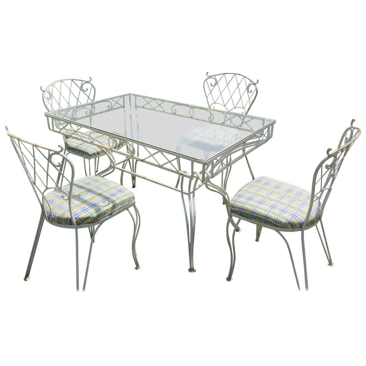 Five Piece Lattice Pattern Wrought Iron Dining Set