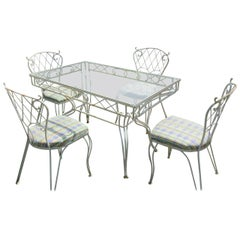 Five-Piece Lattice Pattern Wrought Iron Dining Set