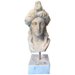 Carved Marble Head of Aphrodite After the Roman Antique