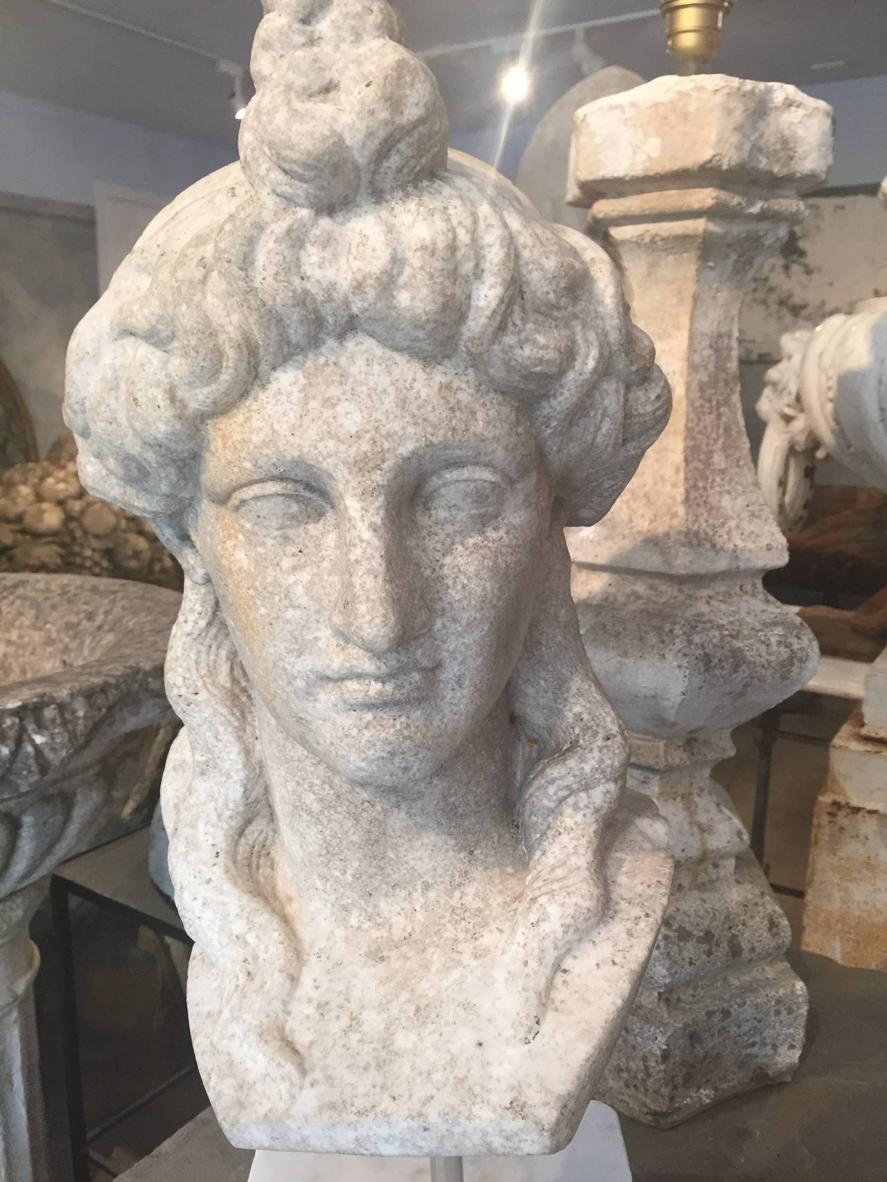 Carved Marble Head Of Aphrodite After The Roman Antique At