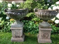 Elegant Near Pair of English Cast Stone Pulham-Style Urns