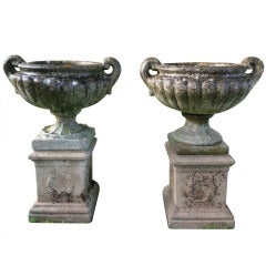 Elegant Near Pair of English Cast Stone Pulham-Style Urns