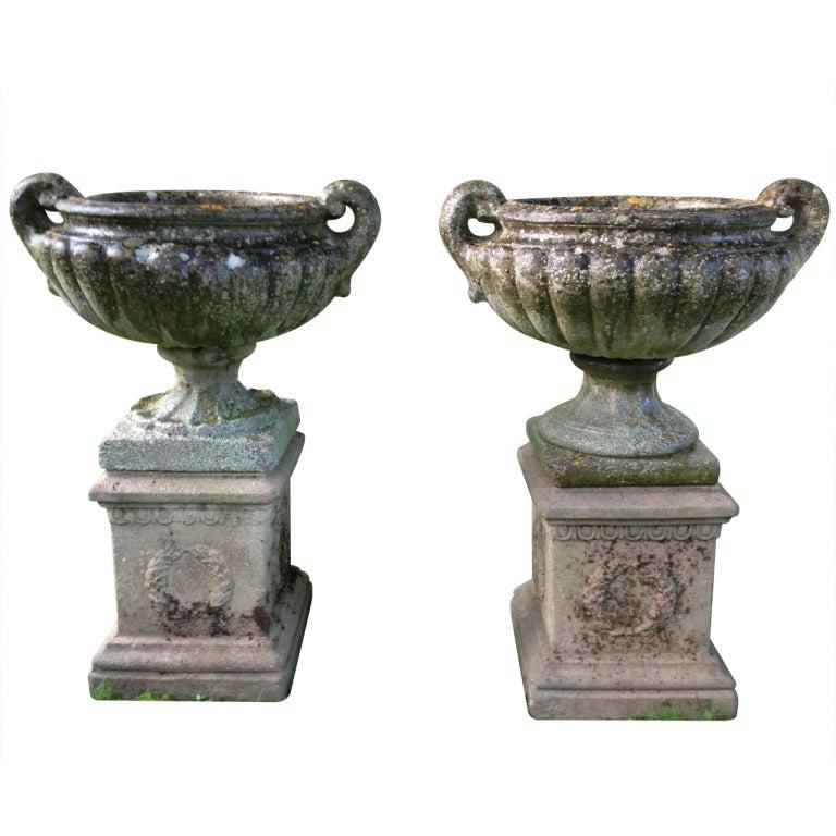 Elegant Near Pair of Pulham-Style Urns