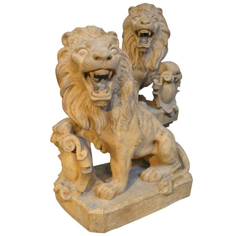 Superb Signed Pair of 19th Century French Terracotta Armorial Lions